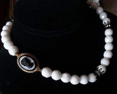 Vintage Milkglass Necklace Wide White Faceted Beads W/ Glass Cameo Clasp 1950's