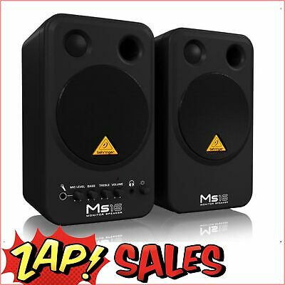 Behringer MS16 Stereo Monitor Speakers, 4 Inch, Active (Pair)
