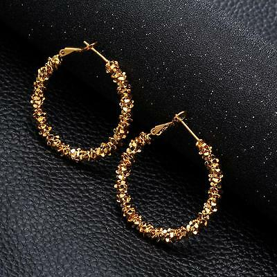 New Women Jewelry Big Round Hoop Earrings Gold Plated Stars Dangle Ear Studs