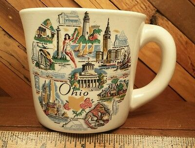 Vintage OHIO Souvenirs Mug with Landmarks by Conrad Crafters