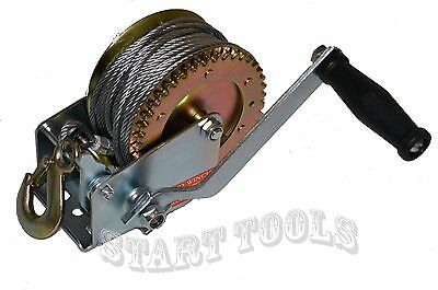 1200lbs Hand Winch Steel Cable Hand Gear Winch ATV Boat Trailer Heavy Duty NEW