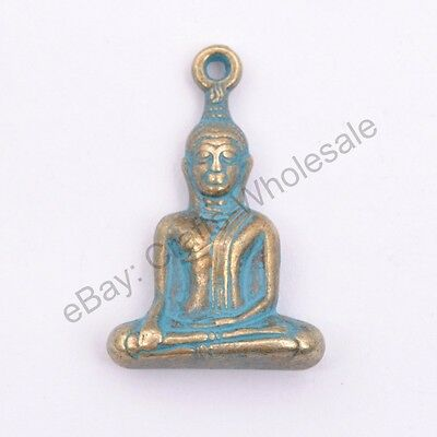 Antique Tibetan Silver Buddha Charms Jewelry Findings 35MM CW3004