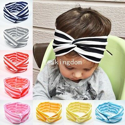 Fashion Girls Kids Baby Bow Hairband Headband Stretch Cute Turban Knot Head Wrap