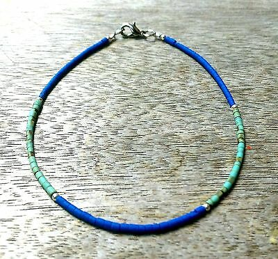 Afghan Natural Lapis Lazuli, Turquoise Tiny Seed Beads Anklet Ankle Bracelet