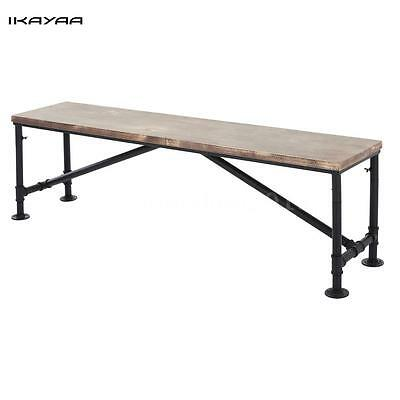 Vintage Industrial Style Wood Top Metal Frame Patio Outdoor Dining Bench UK T6Q3