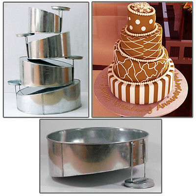 "4 Tier Mini Topsy Turvy Round Birthday Wedding Anniversary Cake Tin 5"" 7"" 9"" 11"""