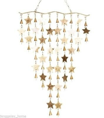 Stars & Bell Wind Chime Antique Gold Garden Wall Decor Hanging Christmas