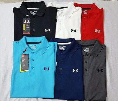 Nwt Under Armour Heat Gear Men's Solid Golf Loose Fit Polo Shirts S-3Xl