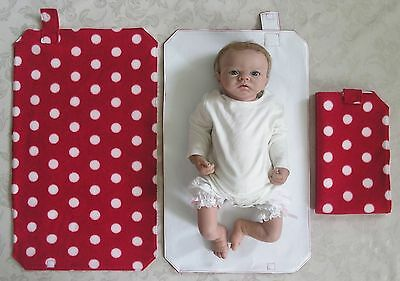 HAND MADE BABY TRAVEL CHANGING MAT - Red With White Dots