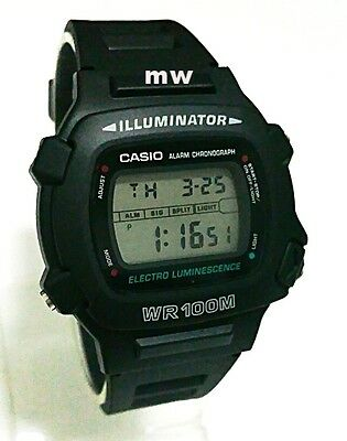Casio W-740-1V Chronograph Watch Black Resin Band Alarm Day/Date Men's Watch New