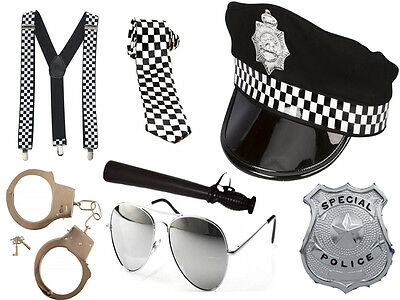 Mens Boys Policeman Cop Fancy Dress Stag Do Party Police Hat Costume Set