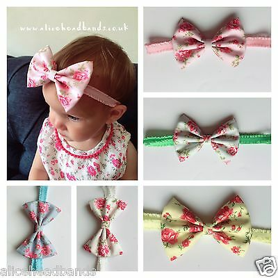 Vintage Fabric Bow band Baby Girl Headbands Lace Band Newborn Headwrap + Lot
