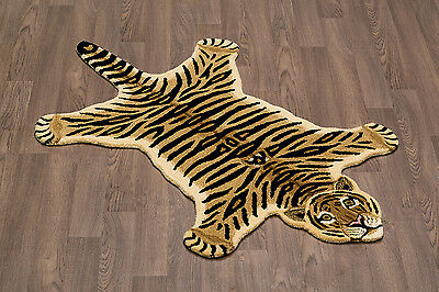 Tiger Wool Skin Rug Hand Crafted Plush and Soft Pile Free Shipping to USA/Canada