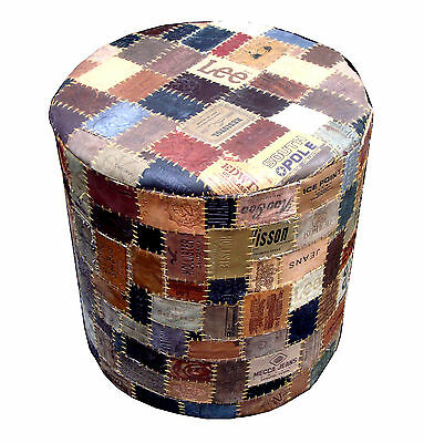 Recycled Jean Label Pouf Foot rest Ottoman Side Table Modern Furniture - Rounded