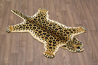 Leopard Wool Skin Rug Hand Crafted Plush Soft Pile Free Shipping to USA/Canada