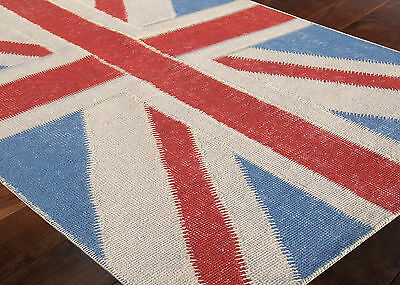 Vintage Union Jack Hand Knotted Wool Area Rug Patchwork Distress Look Carpet 5x8