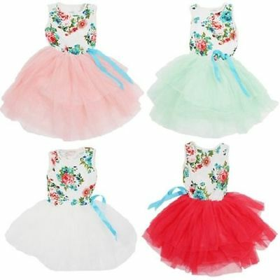 Girl's Country Party Floral Tutu Wedding Flower Girl Easter Birthday Dress NEW