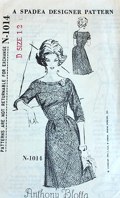 "Vintage 1960s Sewing Pattern Spadea 1014 Anthony Bloffa Dress Bust 35"" 1961"
