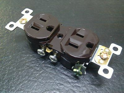 (100 pc) *NEW* Standard Duplex Receptacles 15 Amp Brown 15A Self Grounding