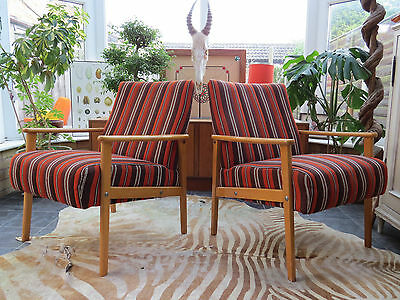 Pair Of Striped East German / Danish Style Cocktail Lounge Armchairs 1970 Jn16/5