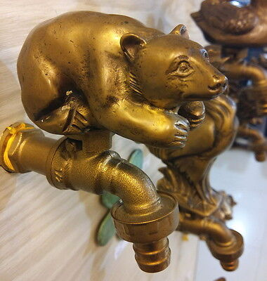 "Brass Faucet Bear Garden Lawn Spigot Vintage 1/2"" Tap Water Home Sense Patio Art"
