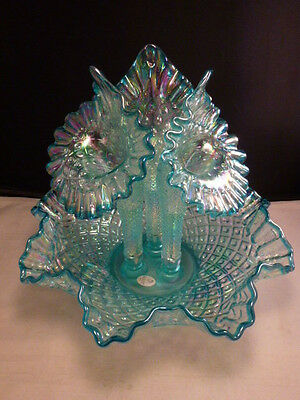 FENTON HOBNAIL Carnival Glass TEAL BLUE  3 Lilly horn  Pulpit mini   Epergne