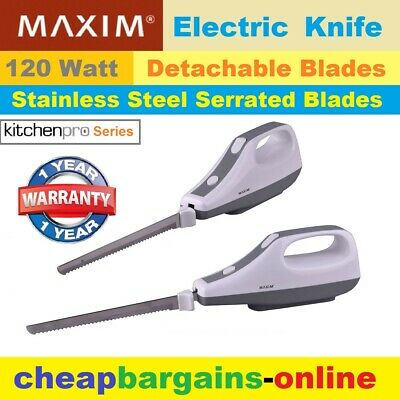 Electric Knife Chefs Carving Knife Stainless Steel Blades Cafe Food Bread Slicer