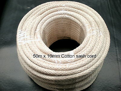 "COTTON SASH CORD ROPE 10mm x 50m or 164'  ""FREE POSTAGE"