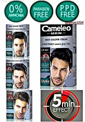 MEN HAIR COLOUR CREAM Grey Hair Dye NO AMMONIA PPD PARABENS DELIA