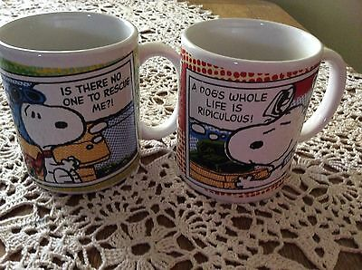Two Peanuts Snoopy Coffee Mugs 2011