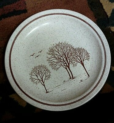 Churchill England Homespun Stonecast TREES Set of 5 Dinner Plates 10 in Brown