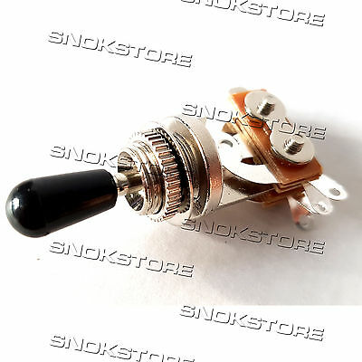 ELECTRIC GUITAR 3 WAY PICKUP TOGGLE SWITCH SELECTOR with PLASTIC TIP KNOB BLACK