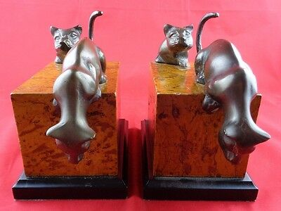 Pair of Bronze Double PANTHERS Climbing LIONS BOOKENDS Patina Decor
