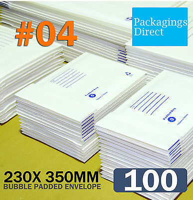 100 #04 Bubble Envelope 230x350mm Padded Bag Mailer SIZE 04 - White Printed