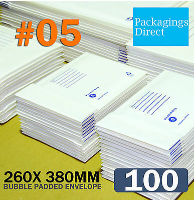 100 #05 Bubble Envelope 260x380mm Padded Bag Mailer SIZE 05 - White Printed