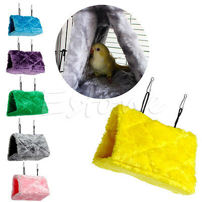 Plush Parrot Bird Hammock Hanging Cave Cage Snuggle Hut Tent Happy Bed Bunk Toy