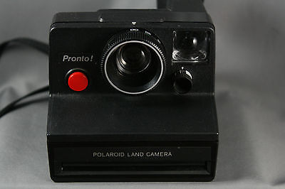 Polaroid Pronto! Instant Film SX70 Land Camera Black Red Shutter Tested Working