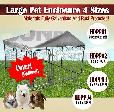 4Size Large Pet Dog Enclosure Run Kennel Chain Link Fence Outdoor Metal Cage Bne