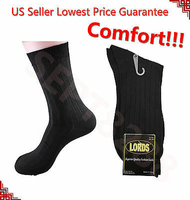12 Pairs LORDS Mens Ribbed Dress Socks Fashion Casual Cotton Size 10-13 New DS