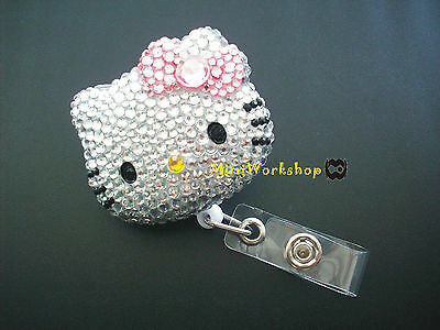 Crystal Pink Bow Hello Kitty Retractable Alligator Clip ID Badge Holder