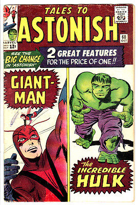 TALES TO ASTONISH #60 (VG+) Incredible Hulk, Giant-Man and The Wasp Classic 1964