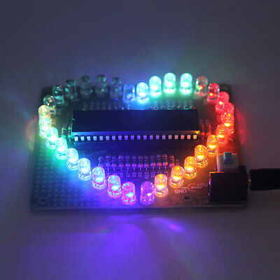 DIY Kit Love Heart shaped LED Colorful Light Water Electronic Flashing