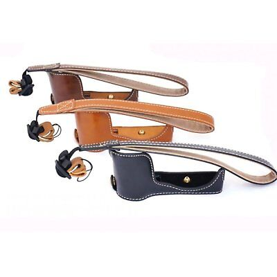 Leather Protect Half Case Grip for Sony Grip Alpha A5000 A5100 Camera+Hand Strap