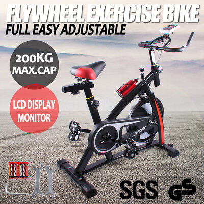 Commercial Spin Bike Flywheel Exercise Home Gym Fitness 200KG Max LCD Monitor