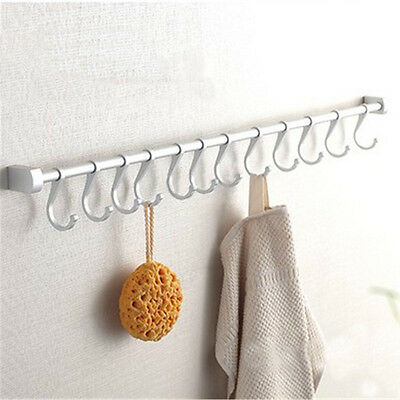8/10/12 Hooks Kitchen Utensil Cupboard Rail Rack Wall Mounted Hanging Holder