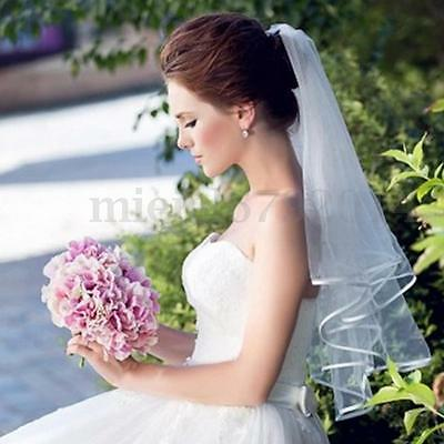 3T Ivory/White/Black Elbow Length Wedding Bridal Short Veil Satin Edge With Comb