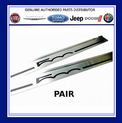 Fiat 500 Stainless Steel / Silver Door Sill Protectors Entry Guards x 2 Genuine