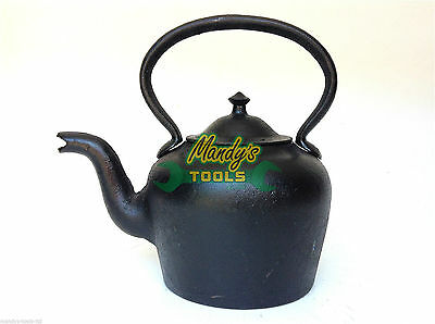 Heavy Black Cast Iron KETTLE Vintage Antique Style For Decorative Purposes Only