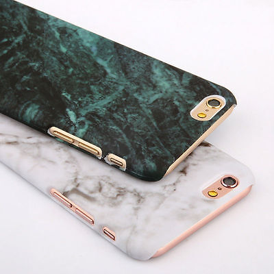 Marble Granite Texture Glossy Hard PC Case Cover For Apple iPhone X 8 7 6s Plus