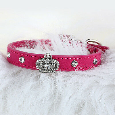 Chiens Puppy Cat Pet PU cuir strass cristal collier Bling Fashion Fuchsia XS
